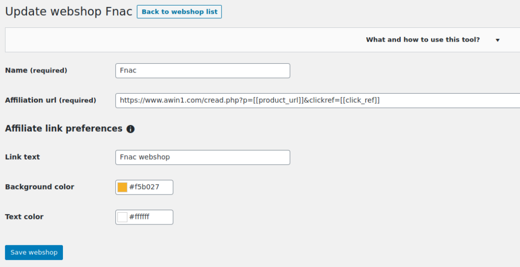 How to configure a webshop on AffiEasy